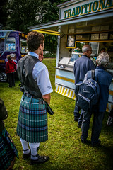 Shall I have chips and cheese, chips and hamburger or simply a large portion of chips? (FotoFling Scotland) Tags: kilt chips balloch highlandgames