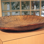 "<b>Platter</b><br/> Stoneware,wheel thrown, rope, impressed texture, layered glazes, gas reduction kiln,2012)<a href=""http://farm9.static.flickr.com/8296/7985688057_dcc6fd01e1_o.jpg"" title=""High res"">∝</a>"