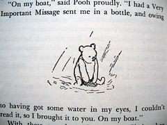 """On My boat,"" said Pooh proudly. (Lise Petrauskas) Tags: bear original usa rabbit art illustration vintage portland photography book photo blackwhite artist drawing or bees bears photograph owl winniethepooh piglet eeyore childrensbook authentic hardcover aamilne ehshepard lisepetrauskas"