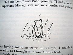 """On My boat,"" said Pooh proudly. (Lise Petrauskas) Tags: bear original usa rabbit art illustration vintage portland photography book photo blackwhite artist drawing or bees bears photograph owl winniethepooh piglet eeyore childrensbook authentic hardcover aamilne ehshepard lisepetrauskas"