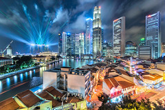 Dazzlecity (Scintt) Tags: show new old city light sky urban water skyline architecture clouds marina river boats lights hotel bay hall nikon singapore long cityscape slow place traffic display trails dramatic surreal scene images tourist casino quay full tokina frame shutter laser getty multiple cbd colourful sands resorts clarke stacked shophouse blend mbs raffles exposures integrated scintillation 1116mm scintt d800e gettysingapore