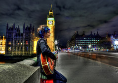 Busking on Westminster Bridge (Anatoleya) Tags: street bridge music 3 playing london westminster night canon prime evening long exposure guitar mark f14 iii performing parliament bigben clocktower le 5d 24mm busker busking hdr westminsterbridge f14l 5d3 anatoleya