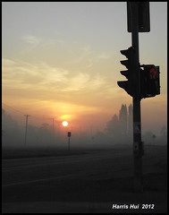 Morning Has Broken - On My Way To Work S1614e (Harris Hui (in search of light)) Tags: morning canada fog vancouver sunrise dawn trafficlight morninglight mood fuji bc foggy earlymorning delta richmond stop fujifilm compact r