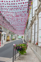 Sky of Flowers (jacksainsbury) Tags: aubeterre sur la dronne flowers pink colour beauty town little cute pattern street photography france south west petal bloom summer bright vibrant lines locals work together hill side light shadow look up sky perspective