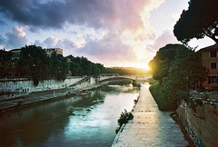 Rome (Eugene Woronyuk) Tags: rome italy spring sunset sunlight sun clouds sky river tiber trees tree architecture bridge city italian film analogue analog pelicula pelcula  35 35mm  pentax spotmatic takumar kodak ektar filmphoto filmnotdead earth landscape cityscape analogphotography