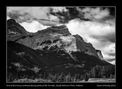 One of the many northeast facing peaks of Mt. Rundle, Banff National Park, Alberta (kgogrady) Tags: banffnationalpark clouds landscape mtrundle summer banff alberta canada xf1855f284ois trees xt1 westerncanada weathered canadianrockieslanscape fujifilm blackandwhite fujinon canadianlandscapes blackwhite canadianrockies fujifilmxt1 2016 bw ab albertalandscapes canadianmountains canadiannationalparks parkscanada morning mountrundle mountain nopeople noone picturesofalberta photosofmtrundle photosofalberta picturesofmtrundle