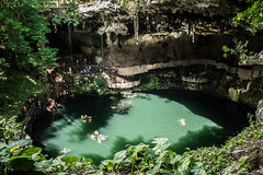 Cenote Zaci (littlestschnauzer) Tags: cenote valladolid yucatan sinkhole waterfilled water pool cool underground mexico holiday sightseeing travel vacation 2016 summer tropical central america tourist attraction visit cave zaci city tiered hidden fascinating natural phenomenon nature earth