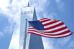 One World Trade Center (Eugene Lagana) Tags: one world trade center flag red white blue freedom tower manhattan lower nyc new york city usa