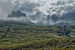 Emerging out of the mist (marko.erman) Tags: celand islande fjords fjord east eastern mist misty clouds landscape panorama nature sony shore extrieur paysage montagne colline champ prairie nuage faskrudsfjordur waterfall