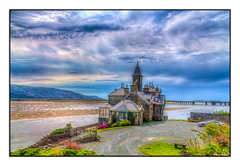 Prince of Tides (Kevin, from Manchester) Tags: barmouth wales coastline architecture sea sky clouds clock building house mountains kevinwalker canon1855mm hdr raw britain