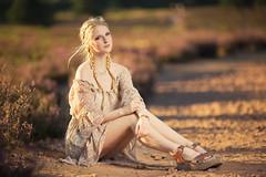 Heide in the summer IV (Michael Kremsler) Tags: shooting model girl portrait fashion dress blond plat shadow eveninglight summer heide heathland sand outdoor warm sandals bokeh stones