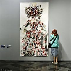 TWO WOMEN..... (Akbar Simonse) Tags: dscn3750 holland netherlands nederland museum hallen haarlem people candid color streetphotography straatfotografie inside vierkant akbarsimonse squareformat indonesianwoman charlotteschleiffert