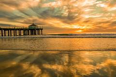 Golden hour (bodro) Tags: beach dramticsunset goldenhour heavyclouds manhattanbeach pier reflection sunset