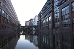 Reflected (A.Keskin) Tags: water reflection city buildings street hamburg deutschland bridge longexposure