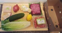 Beef Kofte ingredients (Lost in Flickrama) Tags: hellofresh groundbeef cucumber onion lemon tomatoes lettuce garammasala chilipepper couscous