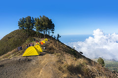 sembalun rinjani camp site (sydeen) Tags: blue outdoor hiking cloud lombok indonesia grass people top clouds savana tent mountain sky nature camping landscape sembalun hiker pelawangan plawangan porter rinjani mount walk tree