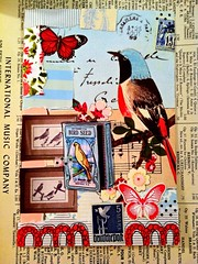 """Feathered Friends"" (born 2 b creative) Tags: art collage scrapbook book mixedmedia journal creation doodle memory page 2012 creations journalpage remnant remnantjournal remnantjournalpage"