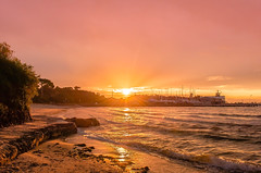 sunset at port mornington pier 3 (john@aus) Tags: sunset sea sun reflection water port pier wave melbourne rays
