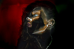 (kirbyamanda) Tags: red green girl lines photoshop dark hair colours side profile sharp odd stare features gaze bizarre edit invert