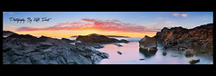 Fingal-Bay-Panoramic (Kiall Frost) Tags: ocean blue red panorama seascape water yellow clouds digital sunrise landscape photography bay nikon rocks photographer stitch pano panoramic portstephens headland fingal d7000 kiallfrost