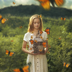 Conservatory (Taylor Marie McCormick) Tags: white house berlin abandoned birdcage girl butterfly germany outdoors dress butterflies blond