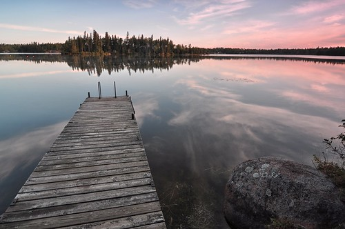 Dock at Red Rock Lake, Early morning.