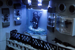 The BATCAVE- Armoury's lighting (Fianat) Tags: castle rock dark batcave lego space bruce bat batman knight cave the