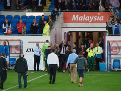 Malky Thanks the Fans (joncandy) Tags: new city red wales photo football championship image stadium soccer cardiff picture kit bluebirds huddersfield ccfc joncandy