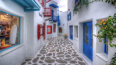 Santorini Park: HDR #2 (LifeisPixels - Thanks for 670,000 views!) Tags: park blue houses white shop lens thailand empty sony surreal santorini thai lone lonely tamron hdr a77 chaam f3545 petchburi  1024mm lifepixels  lifeispixels lifeispixelscom