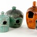 4018. Group of (5) NC Vintage Pottery Birdhouses