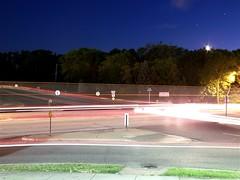 Chaos (Maddie Binning) Tags: street city light moon cars night trails lighttrails