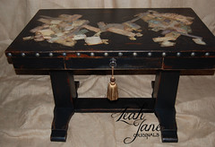 Hand Painted Furniture Antique Library Table / Desk (LeahJane Originals) Tags: world old collage office laptop library study renaissance officedesk antiquefurniture officefurniture antiquedesk antiquetable distressedfurniture blackfurniture distressedblack masculinedesk