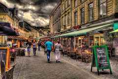 Streetview (Wameq R) Tags: street people cloud netherlands restaurant saturday hdr valkenburg lightroom photomatix tonemapped tonemapping me2youphotographylevel1