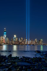 Tribute in Light 2012 IV (laverrue) Tags: nyc blue light jerseycity manhattan 911 wtc gothamist tributeinlight freedomtower oneworldtradecenter