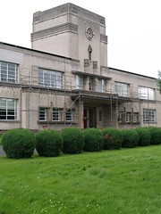 Deco Kelso High School 03 (FrMark) Tags: door uk school windows tower clock horizontal architecture concrete scotland britain entrance front moderne egyptian gb deco kelso fenestration streamline builidng