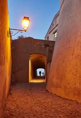 Evening in Calvi/Corse - Abends in der Zitadelle (macplatti) Tags: street blue france yellow restaurant evening abend corse calvi streetphotography gelb bluehour soiree blau soir fra sera strassenlaterne streetlantern mediterranian korsika goinhome