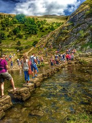 Dovedale Stepping Stones Rush Hour. (deancolclough74) Tags: nationaltrust flyfishing riverdove manifold thorpecloud rushhour steppingstones derbyshire ilam peakdistrict dovedale