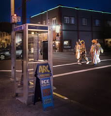 phone booth with approaching clowns (jody9) Tags: astoria oregon clowns phonehome phonebooth night