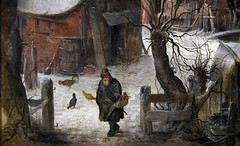 Walk Man, detail 1615 (Mr. History) Tags: avercamp hendrickavercamp dutch netherlands dog chickens hat man walking fence trees snow