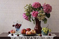 All Good Things (Esther Spektor - Thanks for 11+ millions views..) Tags: stilllife naturemorte bodegon naturezamorta stilleben naturamorta composition art creativephotography artisticphoto arrangement summer tabletop flower bouquet hydrangea food friut peach cherry grape stem cluster vase goblet bowl plate doily glass creamics crochet lace availablelight reflection pattern green pink blue burgundy red yellow brown aqua estherspektor canon
