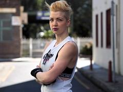 Sarah (Peter Grifoni) Tags: peter grifoni gtpete gtpete63 the human family group street stranger portrait portraiture olympus omd em1 zuiko 45mm f18 newtown sarah sydney roller derby league lumberjacks jammer woman tall skates