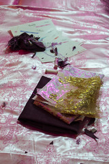 The mess of a fashion design student (RachelMarie@) Tags: select pink satin gold goldtulle fashiondesign fashion character cosplay thehobbit hobbit project fabric fashionfabric uni student embellished corduroy brocade burda burdastyle