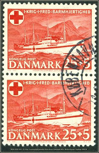 MiNr 0329 1951, 13. Sept. Lazarettschiff Jutlandia Rotes Kreuz Dänemark StDr. Michel-Europa- Kataloge 5080 M Red Cross Croix Rouge