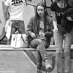 Stars & Stripes... (Akbar Simonse) Tags: dscn4132 denhaag thehague agga haag sgravenhage lahaye holland netherlands nederland people candid girl streetphotography straatfotografie vierkant square zwartwit bw blancoynegro bn monochrome akbarsimonse cigarette cigaret