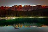Reflecting... (Maverick) Tags: mediterranean dolomiti dolomites tyrol south summer reflection rainbow lake lago alpine alpinelake emerald green mountain mountainlake latemar catinaccio lagodicarezza karersee bolzano italy alps venetianalps water sunset mountainscape trail nikkor nikon d800 longexposure sky red nature blue tree art light sun clouds landscape yellow orange