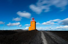 2016-09-22_12-34-51 (halland71) Tags: lighthouse iceland grindavik lagoon clouds longexposure sky orange road black light cloudporn sea seashore