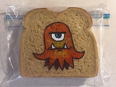 Octocreature (D Laferriere) Tags: creature orange octopus drawing dad laferriere kritzels attleboro sandwich bag art sharpie lastyear
