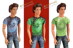 Ken doll in 3 different tie dye T shirts (Hegemony77 - 1/6th scale unique quality clothes fo) Tags: 3 doll dolls different ken 12 tshirts tiedye fashiondoll 12inch dollclothes dollfashion sixthscale fashiondollclothes 16scaledoll hegemony77