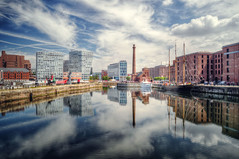 Around the Albert Dock, Liverpool (sammie) Tags: sammie sammiecainephotography nikond5000 isleofman liverpool albertdock hdr photomatix reflection landscape seascape cloudscape harbour dock bay sea water city seaside unitedkingdom uk sky clouds cityscape port ship tower architecture ripples buildings skyscraper window wideangle polariser blue sunny