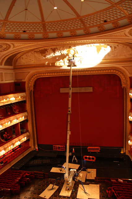 "Restoration work being undertaken by conservators Plowden & Smith to conserve the frieze above the proscenium arch in the Royal Opera House auditorium. <a href=""http://www.roh.org.uk"" rel=""nofollow"">www.roh.org.uk</a>"